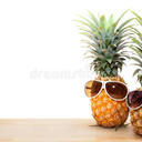 Pineapple sunglasses wood concept summer background 90087671
