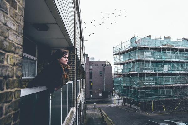 Girl balcony